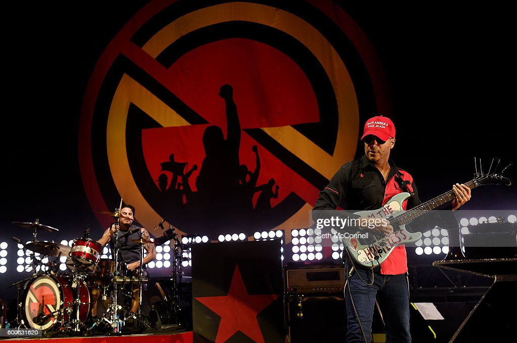 Brad Wilk and Tom Morello of Prophets of Rage perform at Red Rocks Amphitheatre in Morrison, Colorado on September 7, 2016.