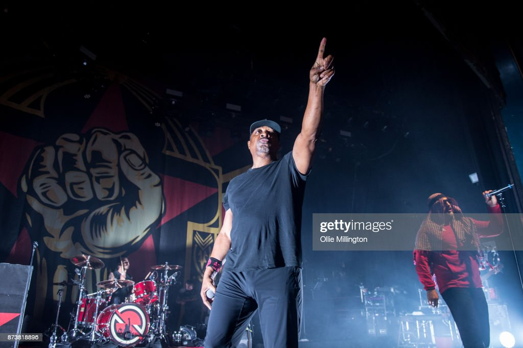 Brad Wilk of Rage Against The Machine, Chuck D of Public Enemy and B-Real of Cypress Hill perform as part of Prophets of Rage perform live on stage at the O2 Forum Kentish Town on November 13, 2017 in London, England.