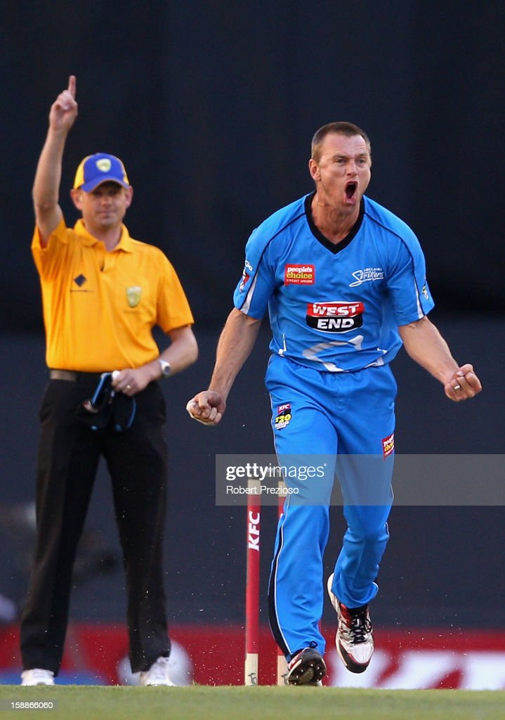Brad Young of the Strikers celebrates the wicket of Michael Hill of the Renegades during the Big Bash League match between the Melbourne Renegades and the Adelaide Strikers at Etihad Stadium on January 2, 2013 in Melbourne, Australia.