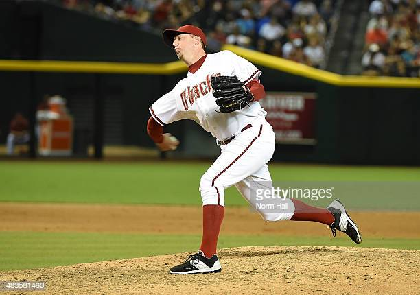 Brad Ziegler of the Arizona Diamondbacks delivers a pitch against the Cincinnati Reds at Chase Field on August 7 2015 in Phoenix Arizona