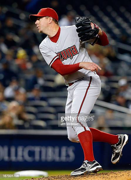 Brad Ziegler of the Arizona Diamondbacks in action against the New York Yankees at Yankee Stadium on April 16 2013 in the Bronx borough of New York...
