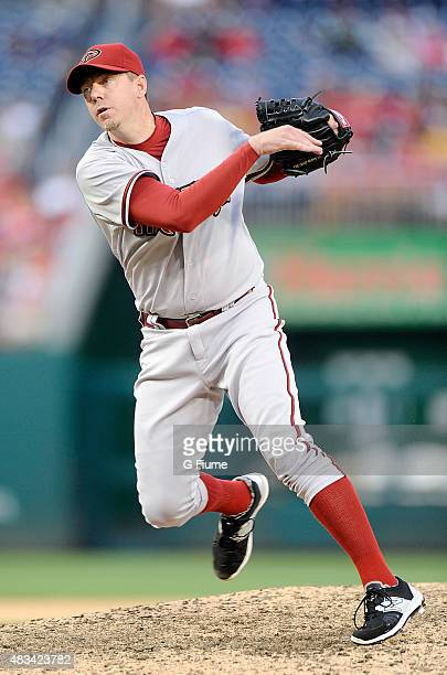 Brad Ziegler of the Arizona Diamondbacks pitches against the Washington Nationals at Nationals Park on August 6 2015 in Washington DC