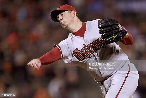 Brad Ziegler of the Arizona Diamondbacks pitches against the San Francisco Giants in the bottom of the ninth inning at ATT Park on September 18 2015...