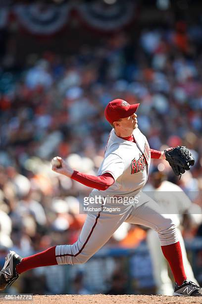 Brad Ziegler of the Arizona Diamondbacks pitches during the game against the San Francisco Giants at ATT Park on April 8 2014 in San Francisco...