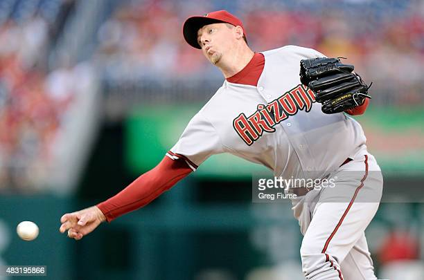 Brad Ziegler of the Arizona Diamondbacks pitches in the eighth inning against the Washington Nationals at Nationals Park on August 6 2015 in...
