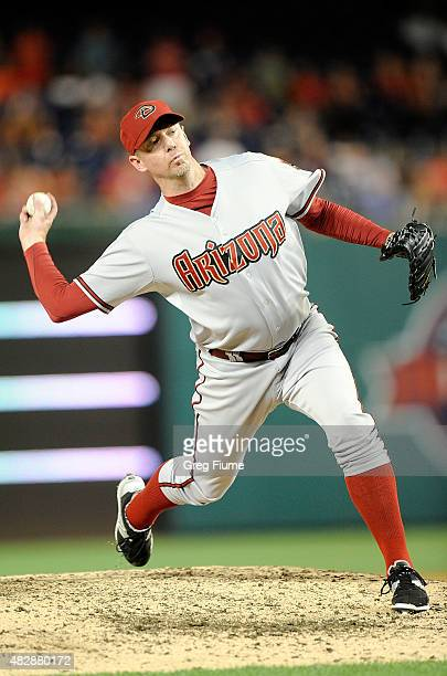 Brad Ziegler of the Arizona Diamondbacks pitches in the ninth inning against the Washington Nationals at Nationals Park on August 3 2015 in...