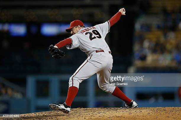 Brad Ziegler of the Arizona Diamondbacks throws a pitch in the eighth inning against the Los Angeles Dodgers at Dodger Stadium on May 2 2015 in Los...