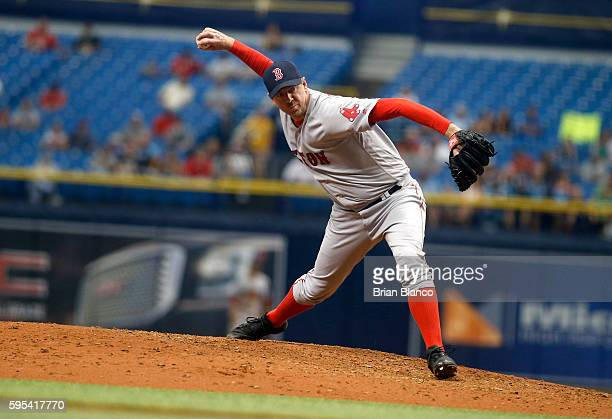 Brad Ziegler of the Boston Red Sox pitches during the eighth inning of a game against the Tampa Bay Rays on August 25 2016 at Tropicana Field in St...