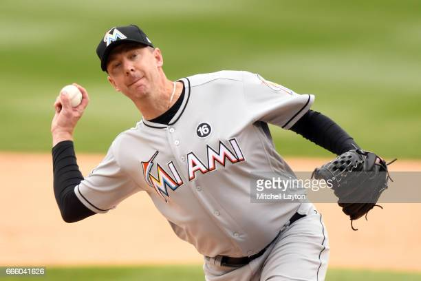 Brad Ziegler of the Miami Marlins pitches during the game against the Washington Nationals at Nationals Park on April 3 2017 in Washington DC The...