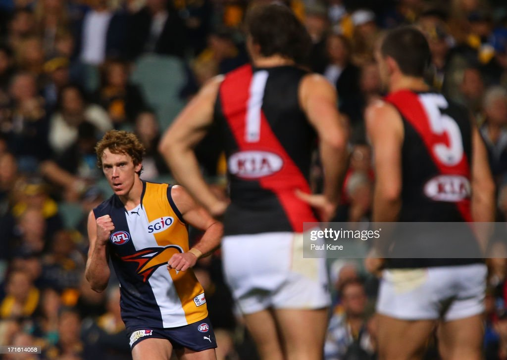 Bradd Dalziell of the Eagles celebrates a goal during the round 14 AFL match between the West Coast Eagles and the Essendon Bombers at Patersons Stadium on June 27, 2013 in Perth, Australia.