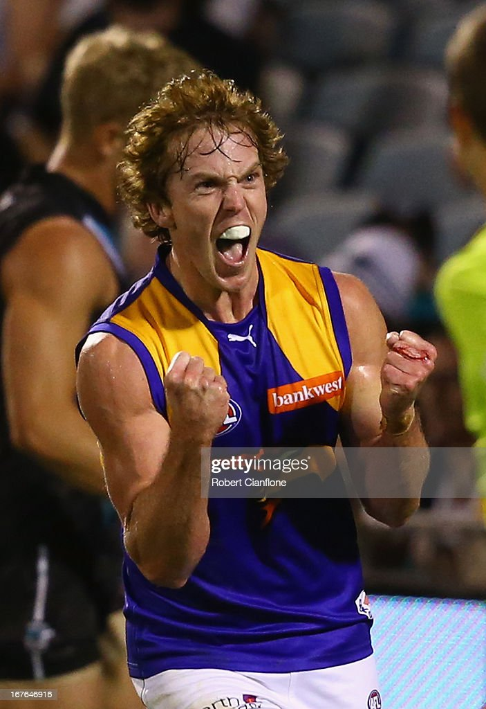 Bradd Dalziell of the Eagles celebrates after kicking a goal during the round five AFL match between Port Adelaide Power and the West Coast Eagles at AAMI Stadium on April 27, 2013 in Adelaide, Australia.