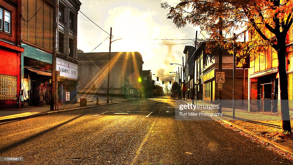 Braddock Ave at Sunrise : Stock Photo