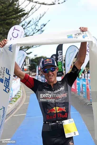 Braden Currie enjoying the victory at the Port Tauranga 1/2 Ironman Triathlon on January 9 2016 in Tauranga New Zealand
