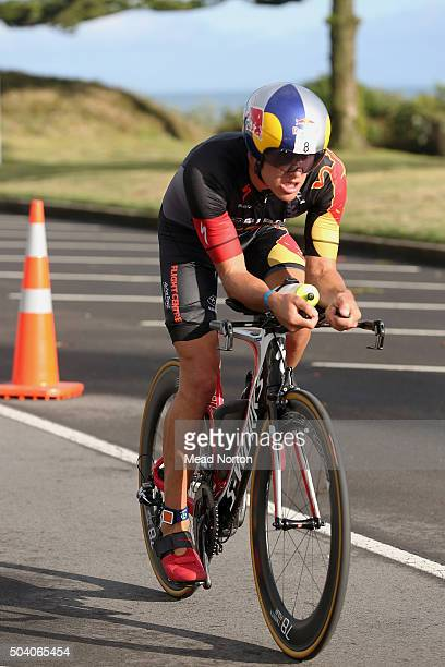 Braden Currie looking strong heading out on the second lap of the bike leg during the Port Tauranga 1/2 Ironman Triathlon on January 9 2016 in...