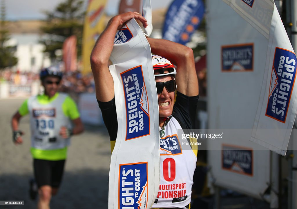 Braden Currie of New Zealand celebrates winning the one day individual event during the 2013 Speights Coast to Coast on February 9, 2013 in Christchurch, New Zealand.