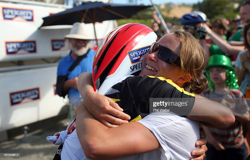Braden Currie of New Zealand celebrates winning the one day individual event with his wife Sally during the 2013 Speights Coast to Coast on February 9, 2013 in Christchurch, New Zealand.