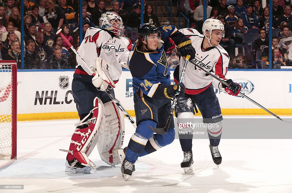 <a gi-track='captionPersonalityLinkClicked' href=/galleries/search?phrase=Braden+Holtby&family=editorial&specificpeople=5370964 ng-click='$event.stopPropagation()'>Braden Holtby</a> #70 and <a gi-track='captionPersonalityLinkClicked' href=/galleries/search?phrase=Dmitry+Orlov&family=editorial&specificpeople=4782302 ng-click='$event.stopPropagation()'>Dmitry Orlov</a> #81 of the Washington Capitals defend against <a gi-track='captionPersonalityLinkClicked' href=/galleries/search?phrase=T.J.+Oshie&family=editorial&specificpeople=700383 ng-click='$event.stopPropagation()'>T.J. Oshie</a> #74 of the St. Louis Blues during an NHL game on April 8, 2014 at Scottrade Center in St. Louis, Missouri.