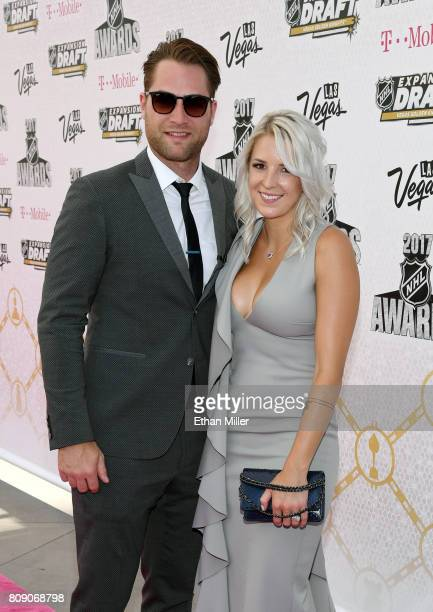 Braden Holtby of the Washington Capitals and his wife Brandi Bodnar attend the 2017 NHL Awards at TMobile Arena on June 21 2017 in Las Vegas Nevada
