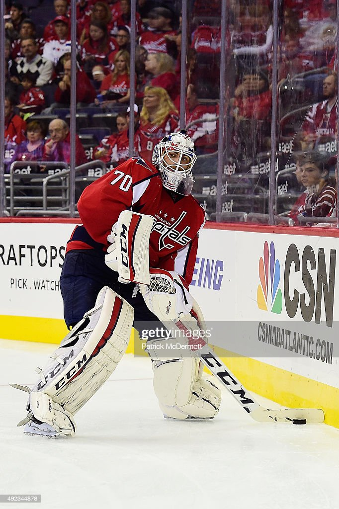 <a gi-track='captionPersonalityLinkClicked' href=/galleries/search?phrase=Braden+Holtby&family=editorial&specificpeople=5370964 ng-click='$event.stopPropagation()'>Braden Holtby</a> #70 of the Washington Capitals controls the puck in the second period against the New Jersey Devils during the Capitals NHL season opener at Verizon Center on October 10, 2015 in Washington, DC.