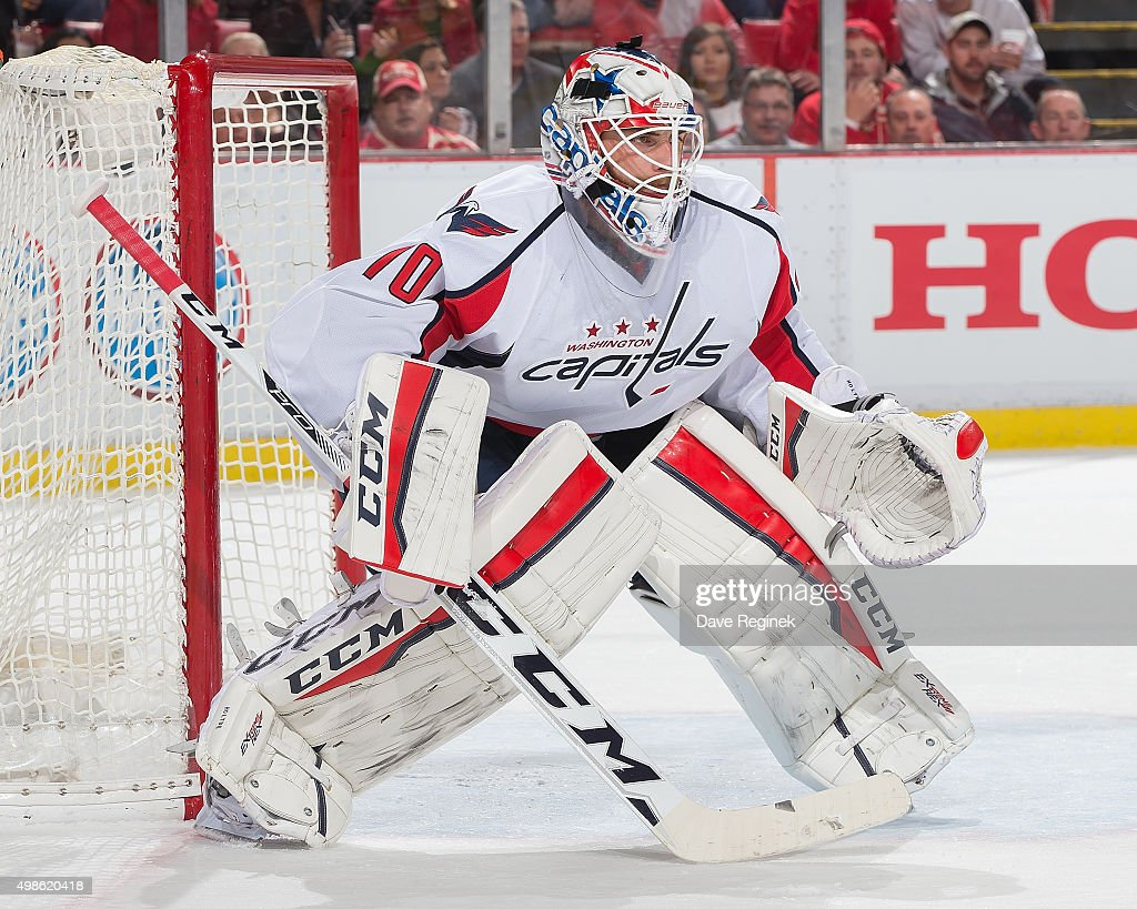 <a gi-track='captionPersonalityLinkClicked' href=/galleries/search?phrase=Braden+Holtby&family=editorial&specificpeople=5370964 ng-click='$event.stopPropagation()'>Braden Holtby</a> #70 of the Washington Capitals follows the play during an NHL game against the Detroit Red Wings at Joe Louis Arena on November 18, 2015 in Detroit, Michigan. The Capitals defeated the Wings 2-1 in overtime.