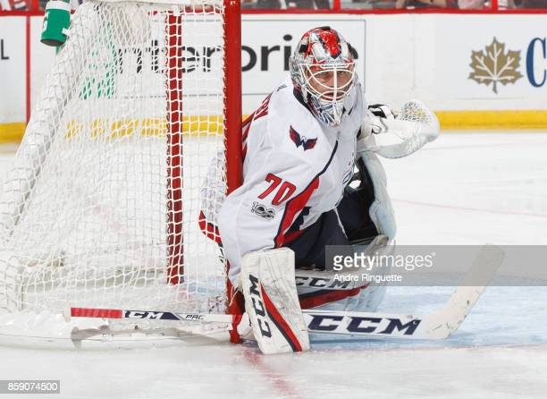 Braden Holtby of the Washington Capitals guards his net against the Ottawa Senators at Canadian Tire Centre on October 5 2017 in Ottawa Ontario Canada