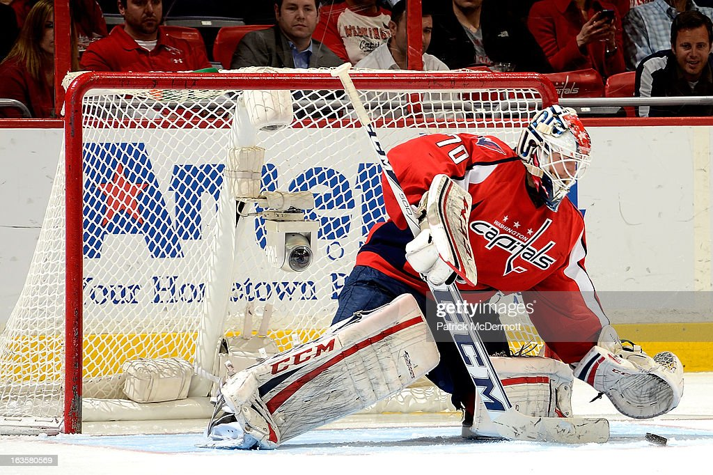 <a gi-track='captionPersonalityLinkClicked' href=/galleries/search?phrase=Braden+Holtby&family=editorial&specificpeople=5370964 ng-click='$event.stopPropagation()'>Braden Holtby</a> #70 of the Washington Capitals ices the puck during an NHL game against the Carolina Hurricanes at Verizon Center on March 12, 2013 in Washington, DC.
