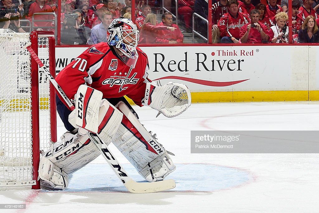 <a gi-track='captionPersonalityLinkClicked' href=/galleries/search?phrase=Braden+Holtby&family=editorial&specificpeople=5370964 ng-click='$event.stopPropagation()'>Braden Holtby</a> #70 of the Washington Capitals in action against the New York Rangers during the first period in Game Six of the Eastern Conference Semifinals during the 2015 NHL Stanley Cup Playoffs at Verizon Center on May 10, 2015 in Washington, DC.