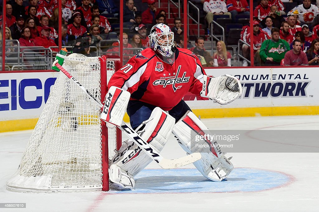 <a gi-track='captionPersonalityLinkClicked' href=/galleries/search?phrase=Braden+Holtby&family=editorial&specificpeople=5370964 ng-click='$event.stopPropagation()'>Braden Holtby</a> #70 of the Washington Capitals in action in the first period during an NHL game against the Calgary Flames at Verizon Center on November 4, 2014 in Washington, DC.