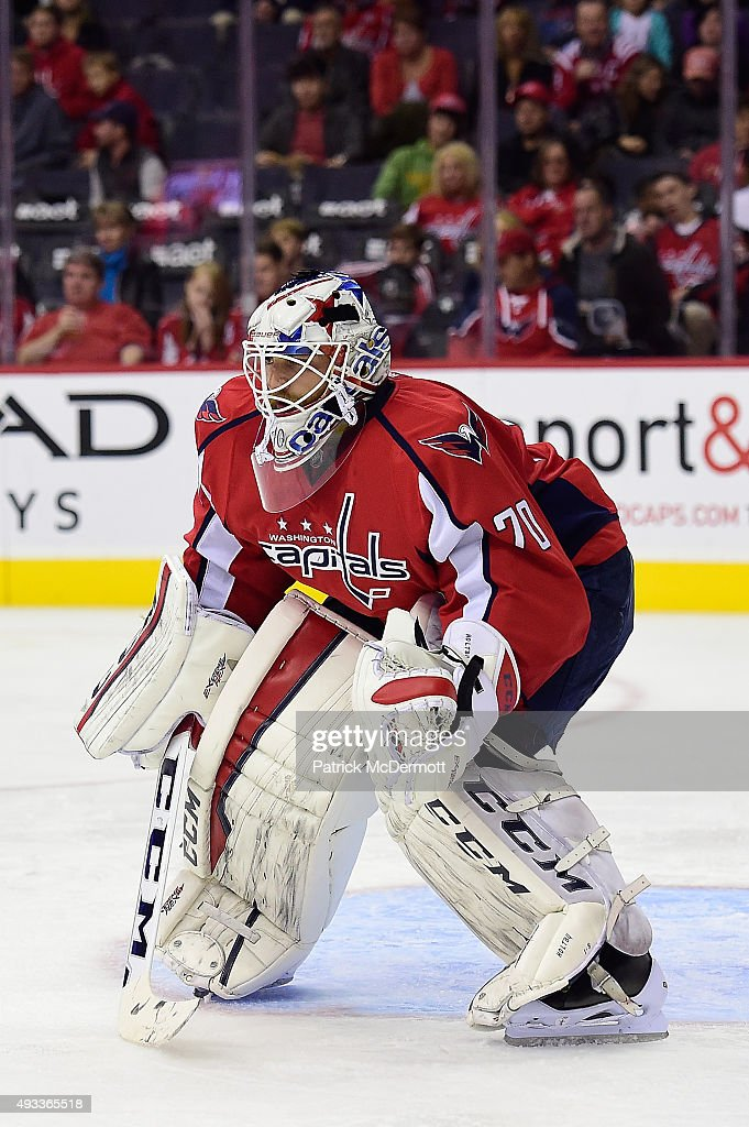 <a gi-track='captionPersonalityLinkClicked' href=/galleries/search?phrase=Braden+Holtby&family=editorial&specificpeople=5370964 ng-click='$event.stopPropagation()'>Braden Holtby</a> #70 of the Washington Capitals in action in the second period against the Carolina Hurricanes during an NHL game at Verizon Center on October 17, 2015 in Washington, DC.