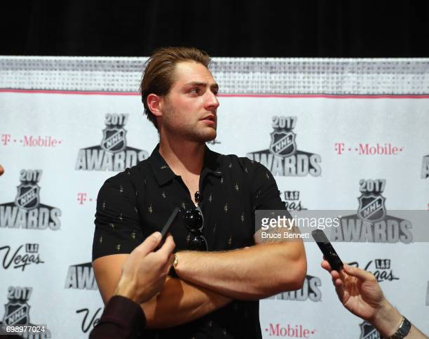 Braden Holtby of the Washington Capitals is interviewed during media availability for the 2017 NHL Awards at the Encore Las Vegas on June 20 2017 in...