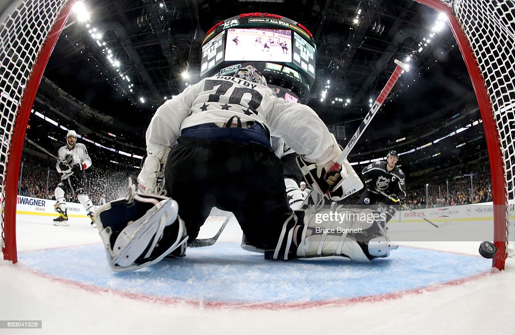 Braden Holtby #70 of the Washington Capitals is unable to make a save during the 2017 Honda NHL All-Star Tournament Final between the Pacific Division All-Stars and the Metropolitan Division All-Stars at Staples Center on January 29, 2017 in Los Angeles, California.