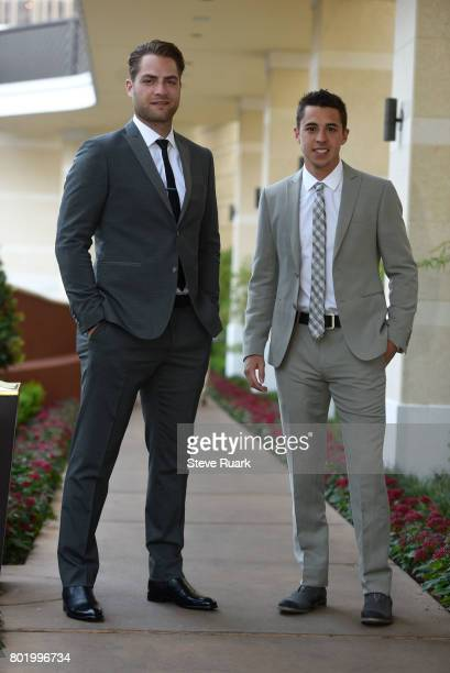 Braden Holtby of the Washington Capitals left and Johnny Gaudreau of the Calgary Flames arrive for the 2017 NHL Awards at TMobile Arena on June 21...