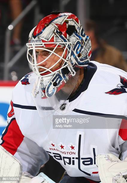 Braden Holtby of the Washington Capitals looks on against the New Jersey Devils during the game at Prudential Center on October 13 2017 in Newark New...