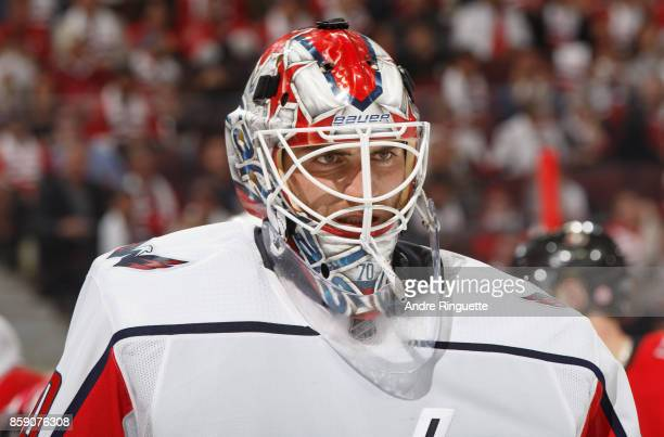 Braden Holtby of the Washington Capitals looks on during a stoppage in play against the Ottawa Senators at Canadian Tire Centre on October 5 2017 in...