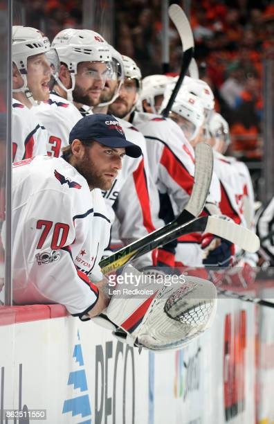 Braden Holtby of the Washington Capitals looks on from the bench during his game against the Philadelphia Flyers on October 14 2017 at the Wells...