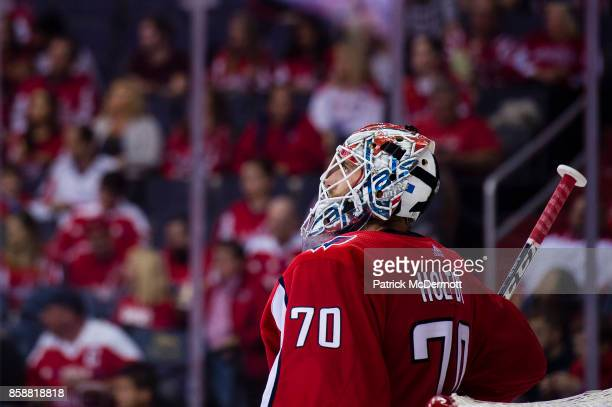 Braden Holtby of the Washington Capitals looks on in the second period against the Montreal Canadiens at Capital One Arena on October 7 2017 in...