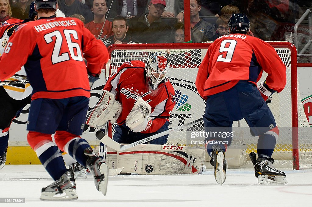 <a gi-track='captionPersonalityLinkClicked' href=/galleries/search?phrase=Braden+Holtby&family=editorial&specificpeople=5370964 ng-click='$event.stopPropagation()'>Braden Holtby</a> #70 of the Washington Capitals makes a pad save during an NHL game against the Boston Bruins at Verizon Center on March 5, 2013 in Washington, DC.