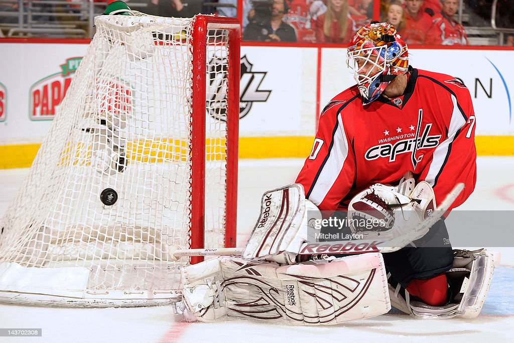 <a gi-track='captionPersonalityLinkClicked' href=/galleries/search?phrase=Braden+Holtby&family=editorial&specificpeople=5370964 ng-click='$event.stopPropagation()'>Braden Holtby</a> #70 of the Washington Capitals makes a save during Game Three of the Eastern Conference Semifinals of the 2012 NHL Stanley Cup Playoffs against the New York Rangers on May 2, 2012 at the Verizon Center in Washington, DC.