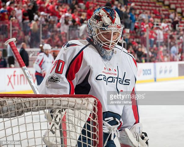 Braden Holtby of the Washington Capitals skates in warmups prior to an NHL game against the Detroit Red Wings at Joe Louis Arena on February 18 2017...