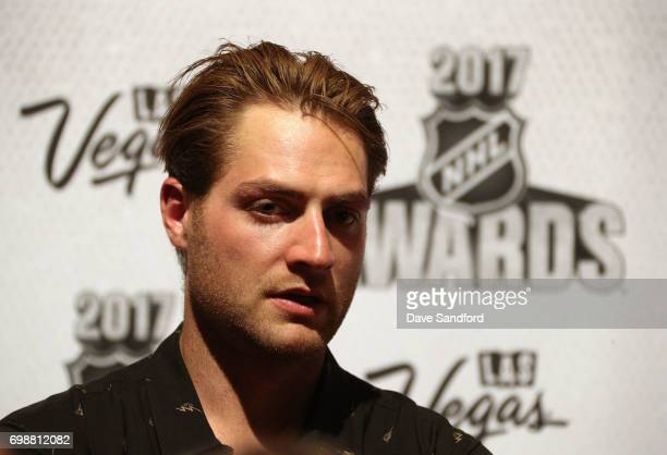 Braden Holtby of the Washington Capitals speaks to reporters during the 2017 NHL Awards media availability on June 20 2017 in Las Vegas Nevada