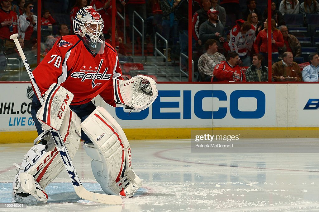 <a gi-track='captionPersonalityLinkClicked' href=/galleries/search?phrase=Braden+Holtby&family=editorial&specificpeople=5370964 ng-click='$event.stopPropagation()'>Braden Holtby</a> #70 of the Washington Capitals stands in his crease before an NHL game against the New York Islanders at Verizon Center on April 4, 2013 in Washington, DC.