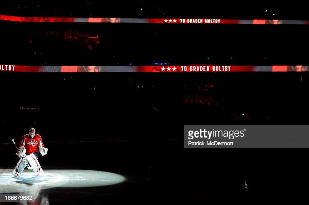Braden Holtby of the Washington Capitals stands in his goal crease before Game Seven of the Eastern Conference Quarterfinals during the 2013 NHL...