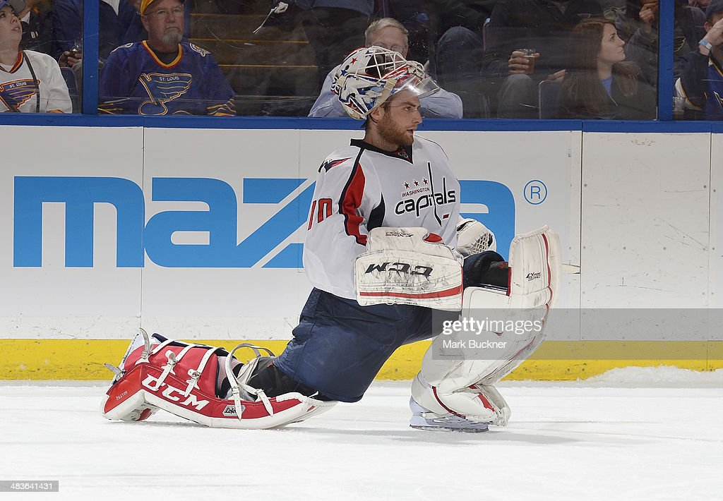 <a gi-track='captionPersonalityLinkClicked' href=/galleries/search?phrase=Braden+Holtby&family=editorial&specificpeople=5370964 ng-click='$event.stopPropagation()'>Braden Holtby</a> #70 of the Washington Capitals stretches during an NHL game against the St. Louis Blues on April 8, 2014 at Scottrade Center in St. Louis, Missouri.