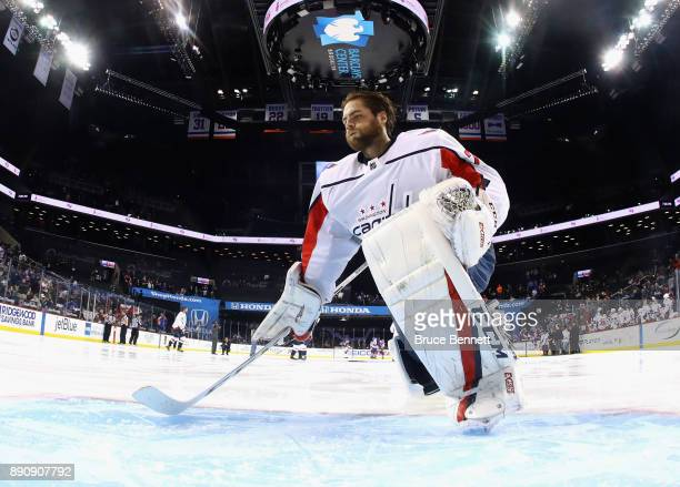 Braden Holtby of the Washington Capitals tends net against the New York Islanders at the Barclays Center on December 11 2017 in the Brooklyn borough...