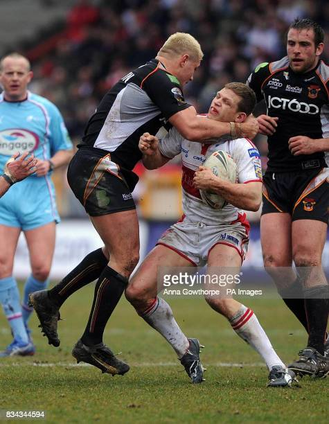 Bradford Bulls' Terry Newton tackles Hull KR's Peter Fox during the engage Super League match at Craven Park Hull