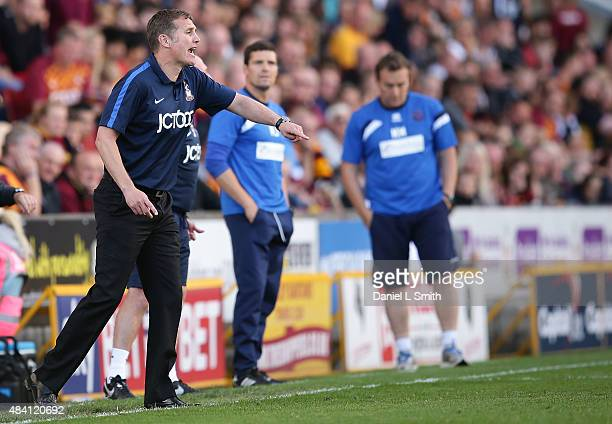Bradford City AFC Manager Philip John Parkinson communivates to players during the League One match between Bradford City AFC and Shrewsbury Town FC...