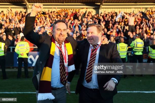 Bradford City coowners and jointchairmen Edin Rahic and Stefan Rupp celebrate victory in the Sky Bet League One Playoff Semi Final First Leg match...