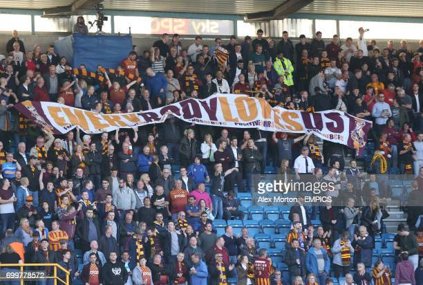 Bradford City fans with a banner that reads 'Everybody Loves Us'