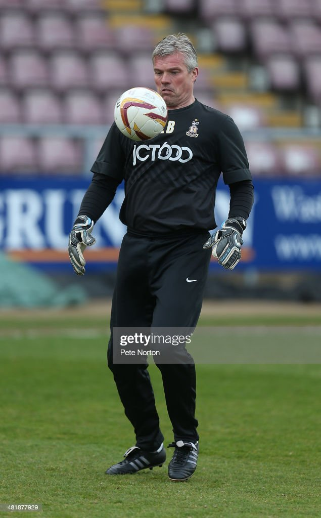 Bradford City goalkeeper coach Lee Butler during the pre match warm up prior to the Sky Bet League One match between Coventry City and Bradford City at Sixfields Stadium on April 1, 2014 in Northampton, England.