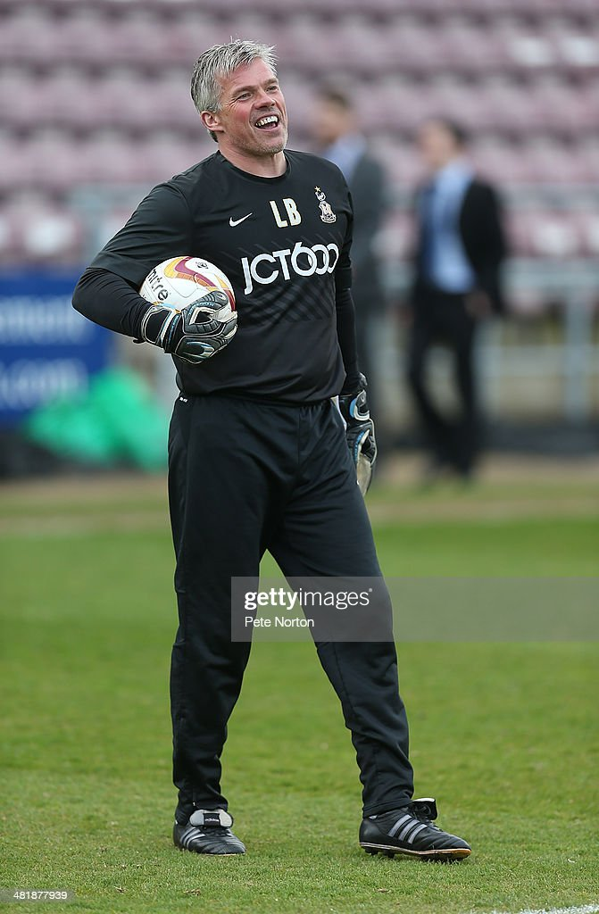 Bradford City goalkeeper coach Lee Butlerduring the pre match warm up prior to the Sky Bet League One match between Coventry City and Bradford City at Sixfields Stadium on April 1, 2014 in Northampton, England.